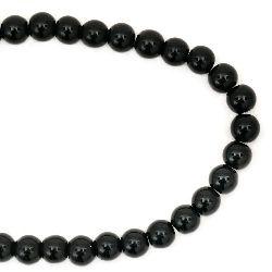 Наниз мъниста стъкло топче 8 мм дупка 1 мм черно ~42 броя