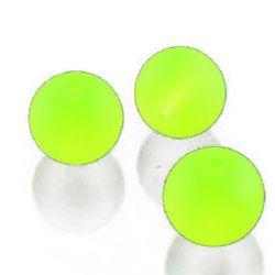 Στρόγγυλη γυάλινη χάντρα 8mm τρύπα 1,3 ~ 1,6mm Διαφανές ματ κίτρινο ~ 80cm ~ 105 τεμάχια