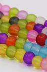 Наниз мъниста стъкло топче 12 мм дупка 1.5 мм прозрачно матирано микс ~40 см ~35 броя