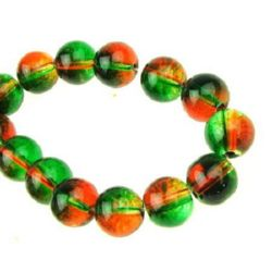 Șirag de mărgele margele de sticlă 10 mm transparent verde / portocaliu ~ 80 cm ~ 82 bucăți