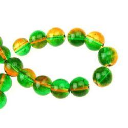 Наниз мъниста стъкло топче 8 мм прозрачно зелено / оранжево ~80 см ~104 броя