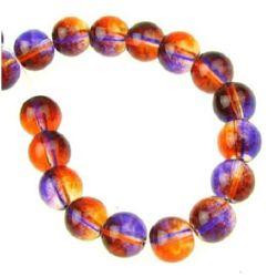 Наниз мъниста стъкло топче 6 мм прозрачно лилаво / оранжево ~80 см ~104 броя
