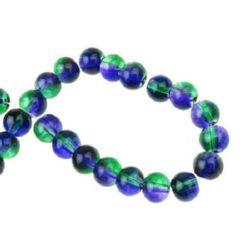 Наниз мъниста стъкло топче 6 мм прозрачно зелено / лилаво ~80 см ~104 броя