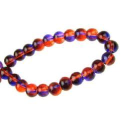 Șirag de mărgele bile de sticlă 6 mm transparent violet / portocaliu ~ 80 cm ~ 104 bucăți