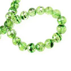 Наниз мъниста стъкло топче 8 мм дупка 2 мм рисувано зелено/сребро ~110 броя