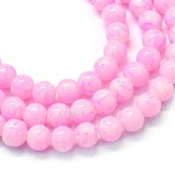Наниз мъниста стъкло топче 8.5~9 мм дупка 1.5 мм рисувано розово светло ~80 см ~104 броя