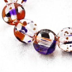 Наниз мъниста стъкло топче 6 мм дупка 1 мм прозрачно многоцветно ~136 броя