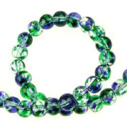 Șirag de mărgele de sticlă 6 mm gaură 1 mm transparent multicolor ~ 136 bucăți