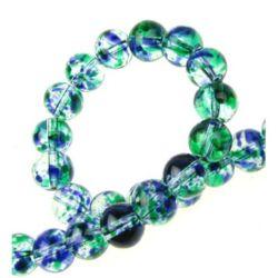 Наниз мъниста стъкло топче 8 мм дупка 1 мм прозрачно многоцветно ~104 броя