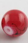 Наниз мъниста стъкло топче 8 мм дупка 1.3±1.6 мм рисувано червено и черно±80 см ±100 броя
