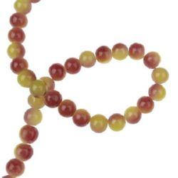 Șirag de mărgele bile de sticlă 8 mm gaură 1 mm cu spray bicolor galben-violet ~ 80 cm ~ 104 bucăți