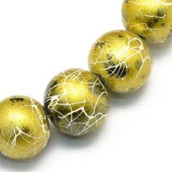 Наниз мъниста стъкло топче 8 мм дупка 1 мм рисувано със спрей цвят злато ~80 см ~106 броя