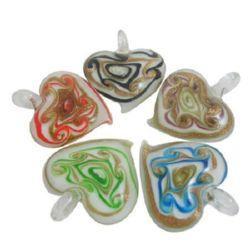 Sticla  pandantiv forma inima Murano 41x46 mm gaură 5 mm realizată manual MIX