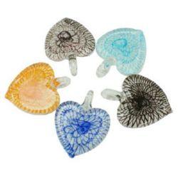Pandativ din sticla Murano inima 40x52 ~ 55 mm gaură 7 mm realizată manual MIX