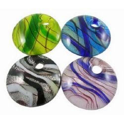 Висулка стъкло Мурано 50x50x10 мм дупка 9 мм ръчна изработка цвят асорте