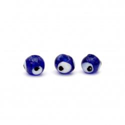 Мънисто стъкло Лампуорк топче око 8±9 мм дупка 2 мм цвят син -10 броя