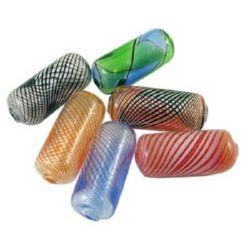 Margele de sticlă realizate manual 11x26 mm gaură 2 mm MIX -1 buc