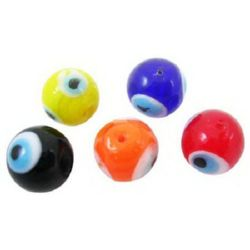Sticla desen ochi  10x10 mm gaură 1 mm manual MIX -10 bucăți