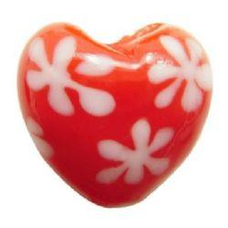 Χάντρα γυαλί Murano καρδιά 16x16x9 mm τρύπα 2 mm κόκκινο -4 τεμάχια