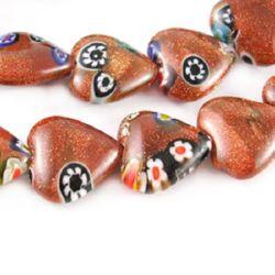 Perle de sticlă Milefiori inimă cu șnur 12x4,5 mm gaură 1 mm ~ 33 bucăți
