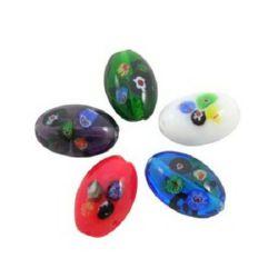Millefiori glass beads 16 x 25 mm - MIX