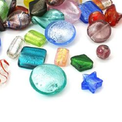 Мъниста стъкло Милефиори 10~35x10~30 мм АСОРТЕ форми -50 грама