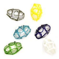 Margele din sticlă oval vopsită 18x11 mm gaură 2 mm MIX -4 bucăți
