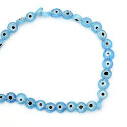 Наниз мъниста стъкло Лампуорк паричка 6x3 мм дупка 1 мм синьо око ±68 броя