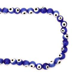 Наниз мъниста стъкло Лампуорк топче 8 мм дупка 1 мм синьо око ~49 броя
