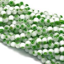 Наниз мъниста стъкло Лампуорк топче 8 мм дупка 1 мм цвят бяло и зелено ~48 броя