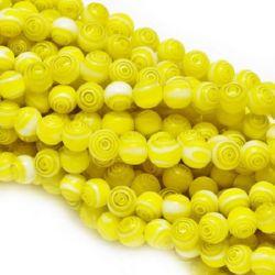 Șiruri mărgele sticlă  8mm gaură 1 mm culoare galben ~ 48 bucăți