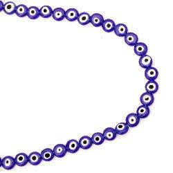 Наниз мъниста стъкло Лампуорк паричка 8x4 мм дупка 1 мм синьо око ~49 броя