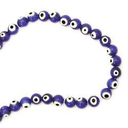 Наниз мъниста стъкло Лампуорк топче 10 мм дупка 1 мм синьо око ~39 броя