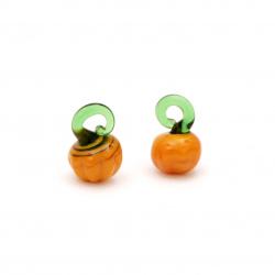 Pendant glass Lampwork pumpkin for DIY accessories 12x18 mm hole 4x3 mm - 4 pieces