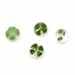Glass base for pendant  with built-in natural clover 12x11 mm