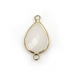 Metal flramed connector, faceted glass teardrop, imitation Swarovski element 26x14x6 mm white