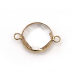 Свързващ елемент стъкло имитация Сваровски с метален обков кръг фасет 22x15x6 мм прозрачен
