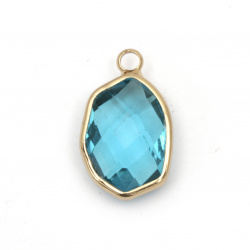 Висулка стъкло имитация Сваровски с метален обков фигурка фасет 20x12x7.5 мм синя