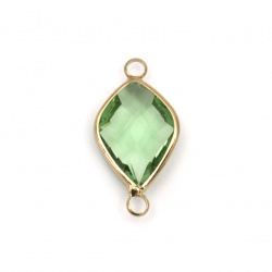 Element de conectare sticlă imitație Swarovski cu furnir metalic furnir 24x13x6 mm verde