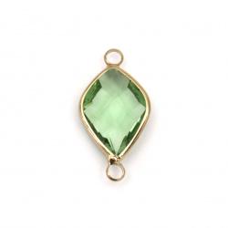 Свързващ елемент стъкло имитация Сваровски с метален обков фигурка фасет 24x13x6 мм зелен