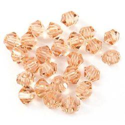 Perle de cristal 4 mm gaură de 1 mm imitație Piersică Swarovski -24 bucăți