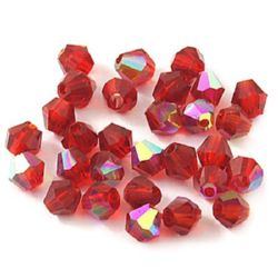 Мъниста кристал 4 мм дупка 1 мм имитация Сваровски червен дъга -24 броя