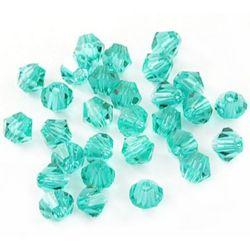 Мъниста кристал 6 мм дупка 1.3 мм имитация Сваровски зелен дъга -12 броя