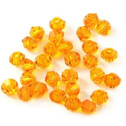 Мъниста мъниста кристал 8 мм дупка 1.3 мм имитация Сваровски оранжев дъга -12 броя