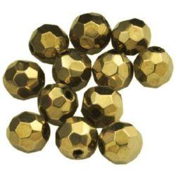 Наниз мъниста кристал многостенен 6 мм дупка 1 мм златен -55 броя