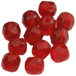 Наниз мъниста кристал многостенен 6 мм дупка 1 мм червен -55 броя