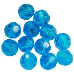 Siret de margele Cristal Multi-Perete 6mm Gaură 1mm Albastru -55 buc