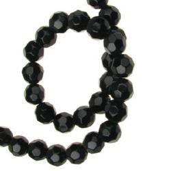 Șir de mărgele de cristal cu pereți multipli 8mm Gaură 1mm Negru ~ 40buc