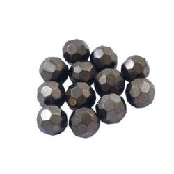 Наниз мъниста кристал многостенен 8 мм дупка 1 мм плътно сив -43 броя