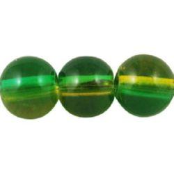 Наниз мъниста стъкло топче 8 мм прозрачно жълто / зелено ~80 см ~105 броя